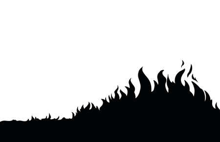 Night red forestry wood warm ignite wild grass glow flare ash view. Red sky text space. Line black hand drawn wildfire smoke risk dry climate hazard life icon sign concept design art sketch style