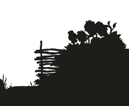 Aged wattle hedge with hanging old clay jar. Freehand outline ink hand drawn picture sketchy in art retro doodle graphic style pen on paper and space for text on sky backdrop