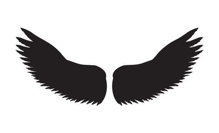 Two outspread large wings with long fluffy plume. Dark monochrome ink hand drawn in art retro contour print style with space for text on light sky