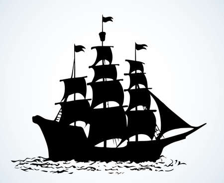 Wooden classic tall line wave buccaneer sailfish galley pictogram isolated on white sky. Outline black ink hand drawn sign emblem pictogram design. Art retro doodle style pen on paper text space Ilustracje wektorowe