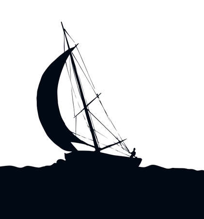 Old sailboat isolated on white sky background. Dark black ink hand drawn journey tour picture sign sketch in art retro emgraving graphic style. Side view with space for text Ilustracje wektorowe