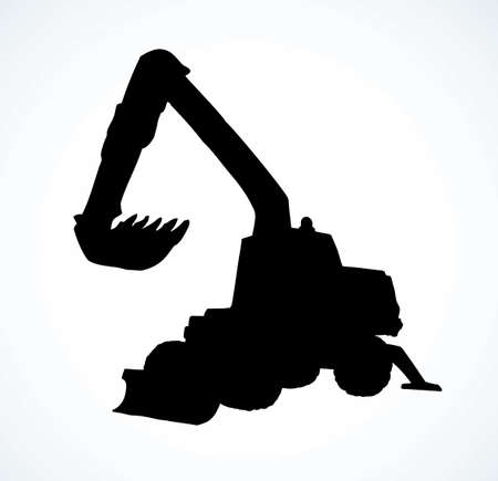 Utility pneumatic mini cutcat model with dipper and big rubber bus isolated on white background. Dark black ink hand drawn tool emblem pictogram. Side view with space for text on quarry grub land