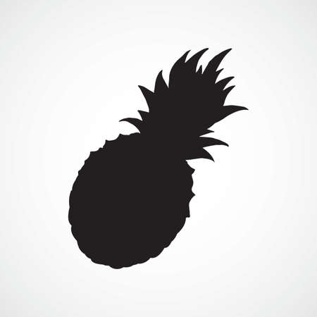 Yummy pinapple comosus fruitful isolated on white backdrop. Dark ink hand drawn picture in retro art print style. Closeup view with space for text