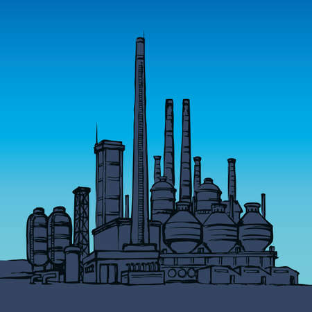 Modern heavy technical catalyst powerhouse rig mainstay building. Environment pollute, ecology concept symbol. Doodle ink drawn background sketch in retro style with space for text on night blue sky