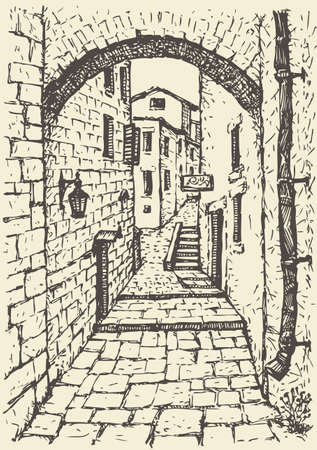 Vector cityscape. The narrow medieval streets of the Mediterranean town