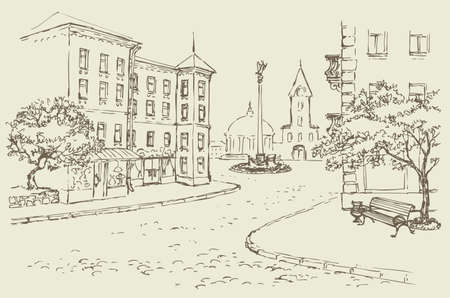 Vector architectural landscape. Old street of the city center with access to the main square