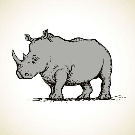 Rino is powerful huge herbivorous mammal with thick skin living in Africa and Asia isolated on white background. Freehand outline ink hand drawn picture sketch in art doodle style pen on paper. Side view with space for text