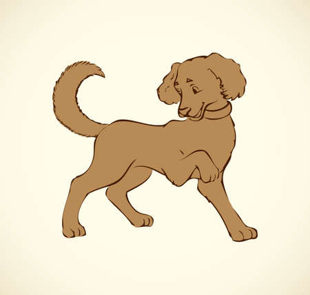 Shaggy pretty cute big dog isolated on white backdrop. Freehand outline ink hand drawn picture sign sketchy in art retro doodle style pen on paper. Closeup side view with space for text