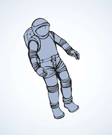 pilot person figure outside on light sky backdrop. Freehand line black ink drawn picture emblem sketchy in retro art scribble engraved print style pen on paper. Closeup view with space for text