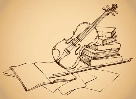 Still life of violin on old books and pages with notes. Vector monochrome freehand sketchy ink outline drawn backgdrop in engraving style with space for text 일러스트