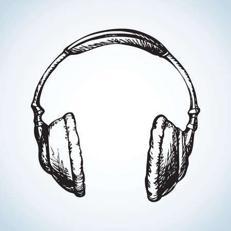 Large overhead fashionable modern full-size headphones with pillows embouchure. Vector freehand ink drawn background sketchy in art scribble style pen on paper. View close-up with space for text