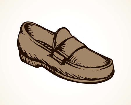Old classic mocassin isolated on light backdrop. Freehand linear dark ink hand drawn picture emblem sketchy in art scribble retro cartoon style pen on paper. Side close up view with space for text