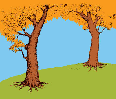Shadow of two old oaks on vibrant green glade field isolated on cyan backdrop. Bright color hand drawn picture sketchy in retro art doodle graphic style with space for text on light blue sky 向量圖像