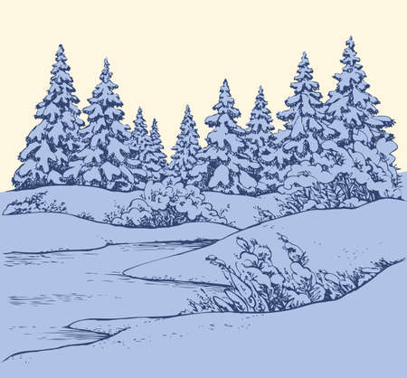 Snowcovered quiet noel wintertime firtree on riverbank. Freehand outline ink hand drawn picture sketchy in art scribble retro style pen on paper. Scenic view with space for text on white sky backdrop