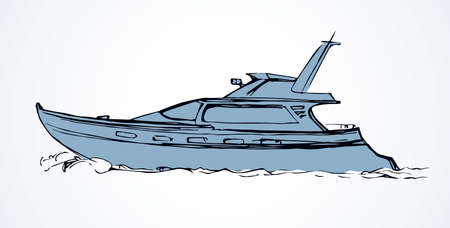 Big naval dinghy gaff on light river wave backdrop. Freehand outline black ink hand drawn racing drive emblem sketchy in art modern etch style pen on paper. Side view and space for text on sky