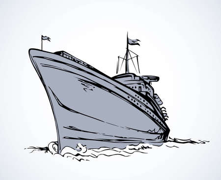 Big obsolete naval SS isolated on white backdrop. Freehand outline black ink hand drawn picture sketchy in art antique scribble style pen on paper. Side view with space for text on sky