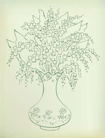 Vector sketch gentle lush bouquet of fragrant lilies in a vase