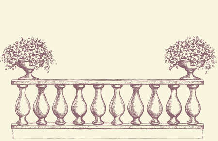 Abstract romantic classic outdoor elegant carving newel bannister with bloom petunia in old bowl on luxury patio. Vector freehand ink drawn sketch backdrop in art antiquity scribble style pen on paper