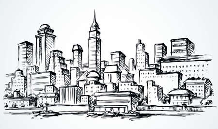 Abstract waterfront usa new york highrise bank structure center panoramic view. midtown dock harbor sky text space. Outline black ink hand drawn built logo icon sign texture design in art doodle style 矢量图像