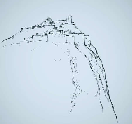 Old eastern judean biblical view of stone wall palace ruin on mount at sea. Freehand outline ink hand drawn aged judaic picture in art retro engraved style pen on paper and space for text on white sky Illusztráció