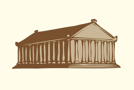 Wonder of Ancient World. Temple of Artemis at Efes isolated on white backdrop. Freehand outline ink hand drawn background sketch in art doodle retro style pen on paper. Front view with space for text on white sky