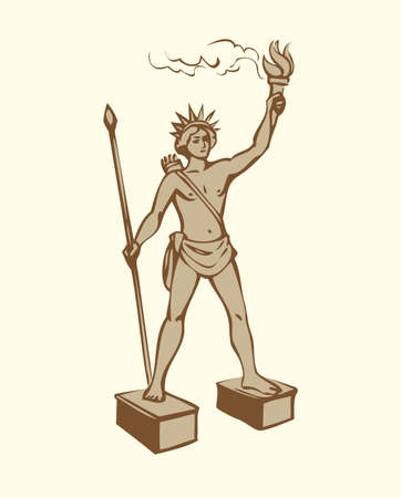 Wonders of Ancient World. Colossus of Rhodes on white backdrop. Freehand outline ink hand drawn background sketch in art doodle retro style pen on paper. Front view with space for text on white sky 矢量图像