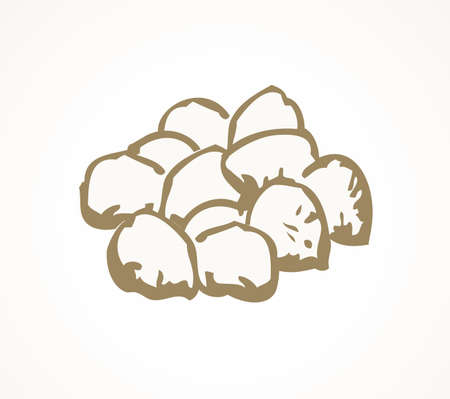 Tasty ripe dry small teff herb pile on white backdrop. Freehand outline black ink hand drawn farm plant logo icon emblem in retro art doodle cartoon graphic style on paper space for text. Closeup view