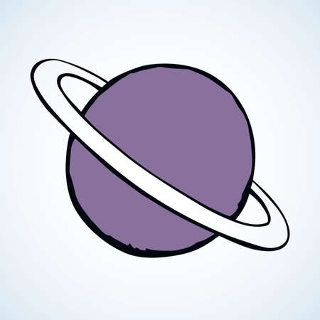 Glob giant duo gas orb ball shape on white sky backdrop. Outline sci-fi ui study cosmo concept. Simple bright purple color hand drawn logo emblem sketchy in retro doodle comic engraved style