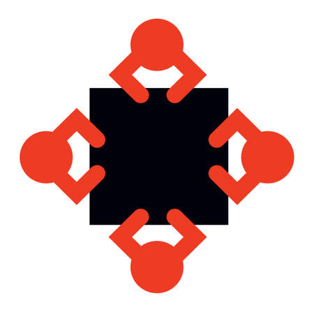 Emblem of alliance deal ideograph. Squad of four red crew council job debate at black square table in office room. Top view of help plan idea concept. Creative art graphic design on white background