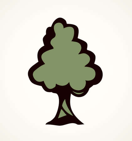 Cute tall green deciduous walnut isolated on white backdrop. Freehand line green ink hand drawn logotype emblem sketchy in art contour scribble comic retro style pen on paper with space for text