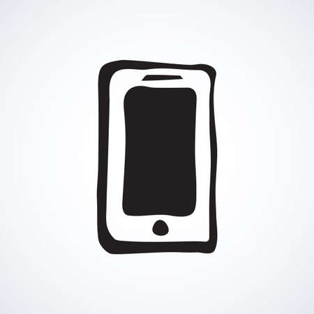 Blank lcd pc talk touchphone on white backdrop. Data wifi sms app concept. Freehand line black ink hand drawn mobilephone logo emblem sketchy in art modern doodle style pen on paper and space for text
