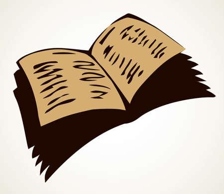 Grunge closeup aged paperback archive on light text space backdrop. Outline black ink pen hand drawn album emblem picture banner design in ancient art doodle contour engrave print style. Close up view
