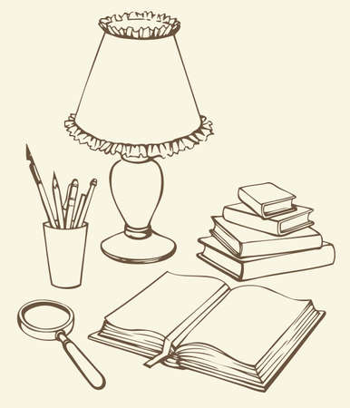 Vector linear monochrome still life. Set of items for study: books, magnifying glass, lamp and pens in holder Vettoriali