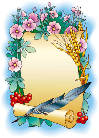 Vector background for the text. Frame in the form of a scroll with the pen surrounded by flowers, ears of corn and fruits Viburnum