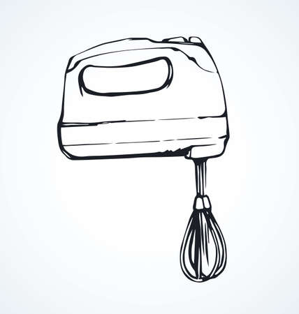 Plastic chop power meal shake stirrer on white background. Freehand line black ink hand drawn baker whip bitter object logo pictogram sketchy in art modern doodle cartoon style pen on paper space for text