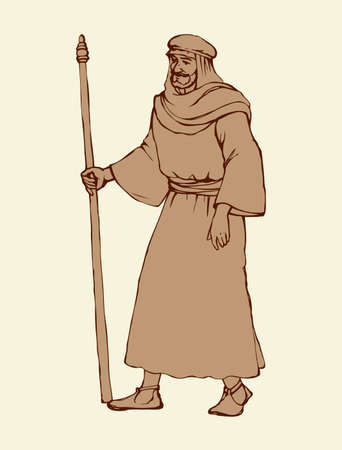 Adult bearded wanderer go to worship with old stick in antiquity middle east judaic biblical attire: shemagh, robe, thobe. Outline ink hand drawn picture sketch in art retro graphic style pen on paper 向量圖像