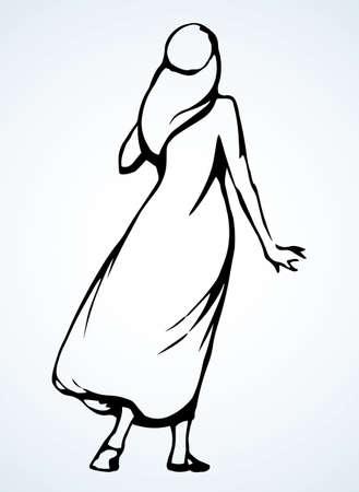 Bedouin pray express guy turban qameez hat. Black ink drawn old bible human point faith sign icon symbol. Retro biblic jewish history cartoon prayer. Asia kandura thobe robe tunic rear behind jew view