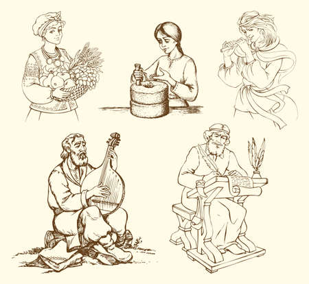 Persons in period costume work on aged instruments. Young girl grind grain flour at grinder, bard play, Chronicler write letter. Freehand outline ink hand drawn picture in art retro style pen on paper