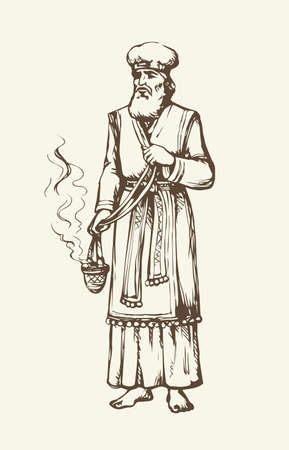 Moses torah historic divine ministry culture. Old bearded Aaron in tunic, turban with censer of incense. Line black ink hand drawn judaic leader sketch in vintage art east engrave style pen on paper 矢量图像
