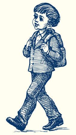 Vector monochrome line image. Cute little boy goes to school in school uniform with backpack 向量圖像