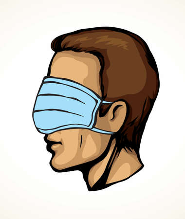 Side profile view 2019 viral flu risk deadly danger hazard ncov 19 human stop false attent safe trust faith patient truth cure. Funny fraud blind fear head nurse staff care cartoon graphic draw vector Ilustrace