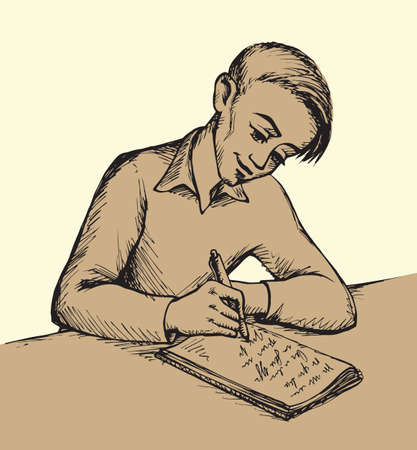 Handsome worker guy person sit at table desk on lecture isolated on white background. Cute happy youth. Freehand outline black ink handdrawn picture sketchy in art retro scribble cartoon graphic style Illustration