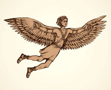 Hellenic Myth tale historic symbolic character hero IKAROS is son of master DAEDALUS soar in sky, fall to death as burnt feathers. Freehand ink drawn background sketch in art scribble antiquity style Vettoriali