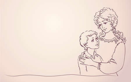 Vector background with a picture of mother and son, happily embracing and smiling