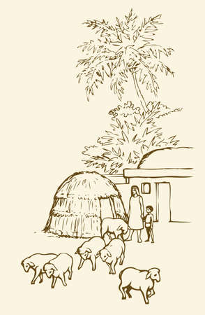 Past biblical babylon aged tropical rural tribe adobe. Early arabian peasant slave job ram breeding herd farm. Old clay mud abode, round thatch barn shelter. Outline draw picture sketch in retro style Illusztráció