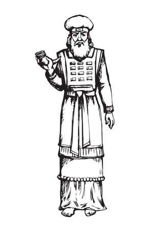 Moses torah historic divine ministry culture. Old bearded Aaron in tunic, turban with horn of anoint oil. Line black ink hand drawn judaic leader sketch in vintage art east engrave style pen on paper