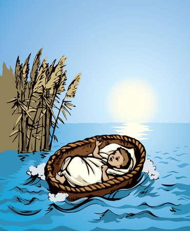 Closeup view exodus cute newborn israeli slave male human cry. Nile grass bush plant sky scene text space. Bright blue color hand drawn king sleep logo icon sign design. Retro church art doodle line style