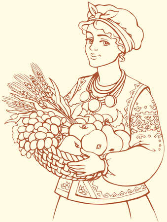 Vector freehand outline sketch picture. Wonderful young blonde girl in scarf and folk waistcoat cute smiling, holding basket with ripe juicy fruits: apples, pears, plums, grapes and a sheaf of wheat ears Ilustração