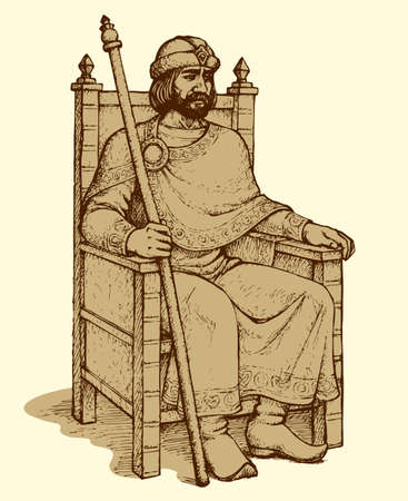 Noble great wise bearded aged Knyaz of Kievan Rus sit on luxury ornate wooden gilded seat with regal rod in hand and hat. Freehand outline ink drawn background sketch in art retro engraving style