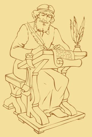 Vector outline drawing of an ancient chronicler with a pen and a sheet of parchment at his desk